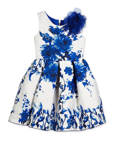 Sleeveless Floral Brocade Party Dress, White/Royal, Size 7-14