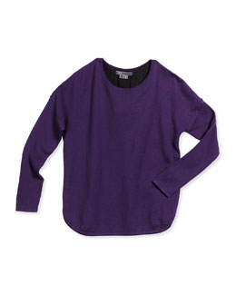 Long-Sleeve Combo Sweater, Purple/Black, Size S-XL