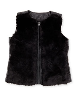 Faux-Leather Vest w/ Faux-Fur Front, Black, Size S-XL