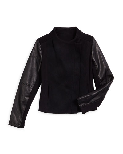 Faux-Leather-Trim Wool-Blend Combo Jacket, Black, Size S-XL
