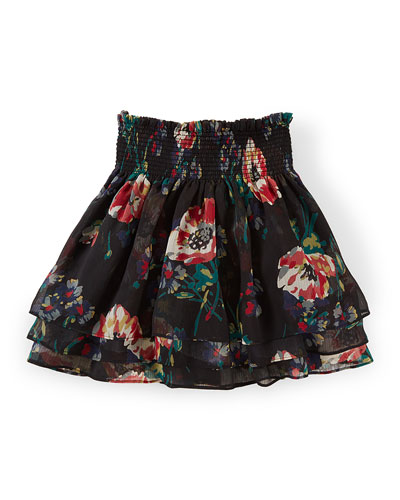 Tiered Floral Chiffon Skirt, Black/Multicolor, Size 2T-6X