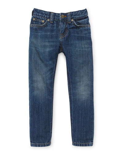 Faded Slim-Fit Denim Jeans, Selvedge, Size 2T-6X