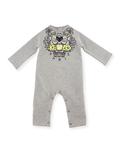 Knit Cotton-Blend Coverall, Gray, Size 6-18 Months