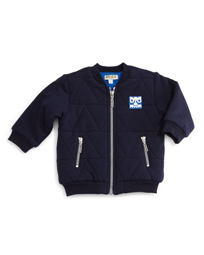 Quilted Zip-Front Jacket, Marine Blue, Size 12M-2Y
