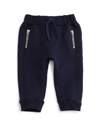 Knit Zip-Trim Sweatpants, Marine Blue, Size 12M-2Y