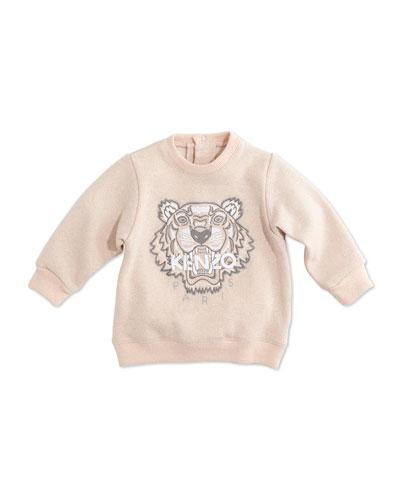 Cotton-Blend Logo Sweatshirt, Light Pink, Size 12M-2Y