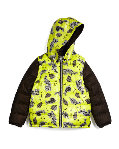Convertible Zip-Front Puffer Jacket, Brown/Yellow, Size 4-5