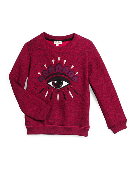 Embroidered Slub-Knit Sweatshirt, Fuchsia, Size 6-10