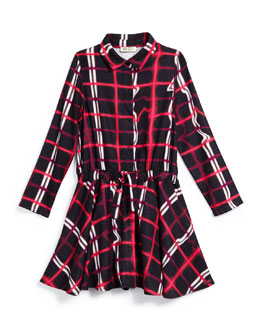 Plaid Drawstring A-Line Dress, Black/Red, Size 6-10