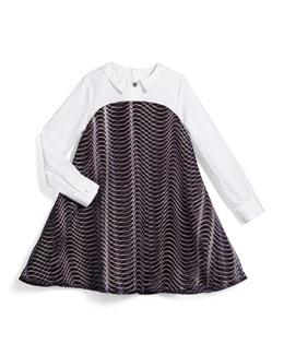 Long-Sleeve Poplin & Ponte Illusion Dress, Black, Size 6-10