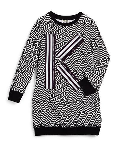 Long-Sleeve Zigzag-Print Knit Sheath Dress, Black/White, Size 14-16