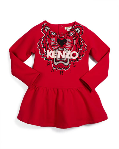 Long-Sleeve A-Line Sweaterdress, Fuchsia, Size 3-4