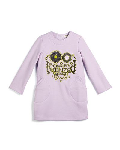 Long-Sleeve Gear & Script Sweaterdress, Lilac, Size 3-4