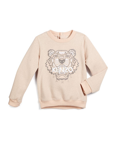 Embroidered Pullover Sweatshirt, Light Pink, Size 3-4