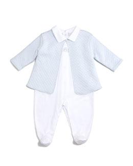 Bébé Pima Footie Pajamas & Jacquard Jacket, Blue/White, Size Newborn-6 Months