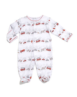 City Trucks Pima Footie Pajamas, White, Size 0-9 Months