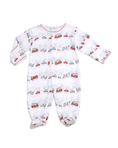 City Trucks Pima Footie Pajamas, White, Size 0-9 Months