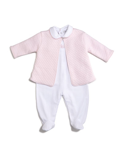 Bébé Pima Footie Pajamas & Jacquard Jacket, Pink/White, Size Newborn-6 Months