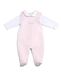 Bébé Jacquard Footed Overall Set, Pink, Size 0-9 Months
