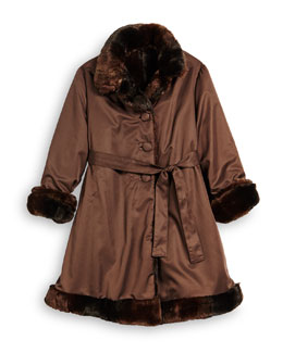 Reversible Button-Front Trenchcoat w/ Faux Fur, Brown, Size 4-6