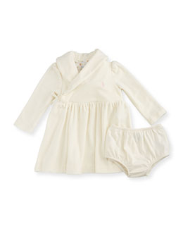 Long-Sleeve Velour Shawl-Collar Dress w/ Bloomers, Cream, Size 9-24 Months