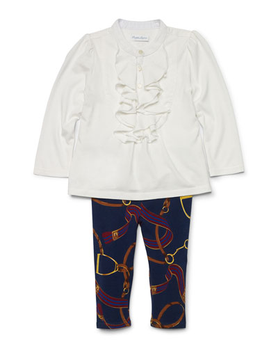 Poplin Draped-Front Top & Equestrian-Print Leggings, Trophy Cream, Size 9-24 Months