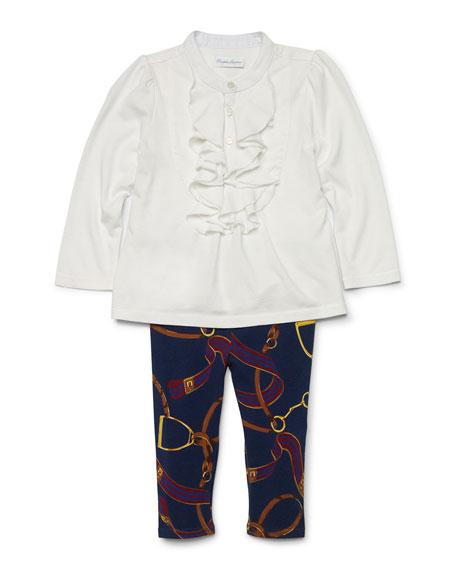03774cbd2efe12 Ralph Lauren ChildrenswearPoplin Draped-Front Top & Equestrian-Print  Leggings, Trophy Cream, Size 9-24 Months