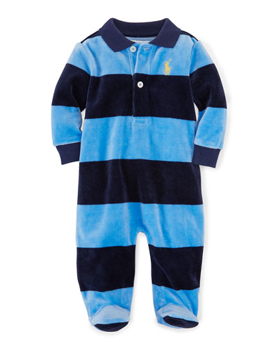 Striped Velour Footie Pajamas, Sky Blue, Size 3-9 Months