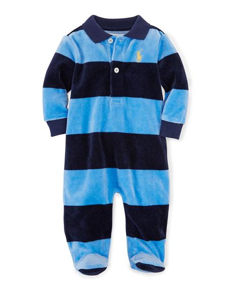 600287099 Ralph Lauren Childrenswear Striped Velour Footie Pajamas, Sky Blue, Size  3-9 Months