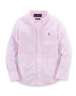 Long-Sleeve Striped Oxford Shirt, Carmel Pink, Size 2T-7