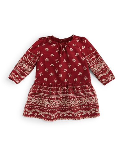 Long-Sleeve Tais Bandana-Print Dress, Rose, Size 3M-3Y