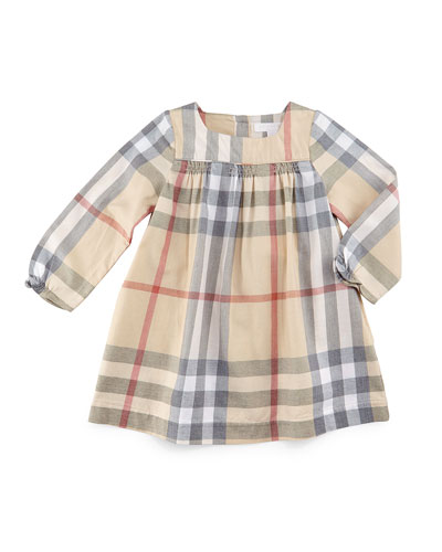 Raegan Check Shift Dress, Pale Stone, Size 3M-3Y