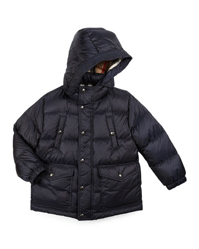 Barnie Hooded Down Puffer Coat, Military Navy, Size 4-14