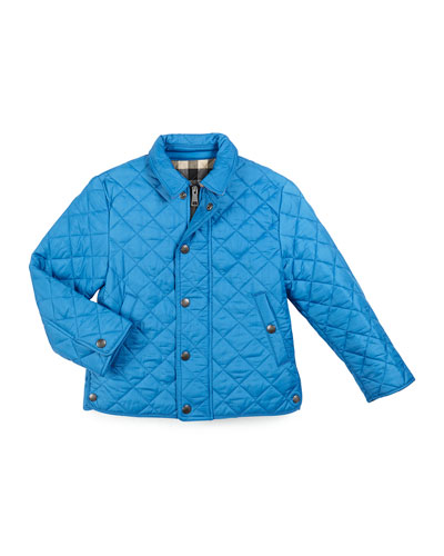 Luke Quilted Snap-Front Jacket, Cerulean Blue, Size 4-14
