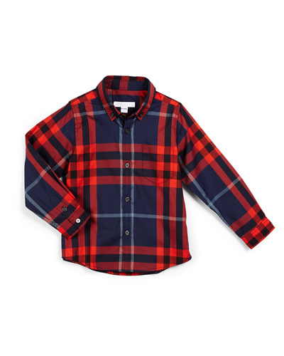 Fred Mini Long-Sleeve Check Shirt, Dark Indigo/Red, Size 4-14