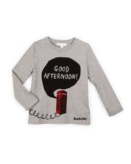 Good Afternoon Long-Sleeve Jersey Tee, Gray Melange, Size 4-14