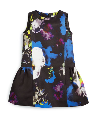Sleeveless Floral Poplin Dress, Multicolor, Size 8-14