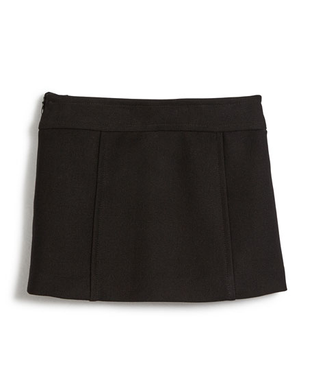Bonded Wool Chain Mini Skirt, Black, Size 8-14