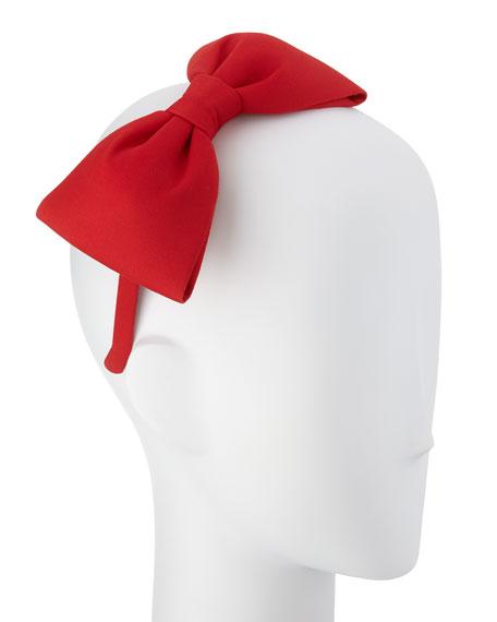 girls' large velvet bow headband, spicy red