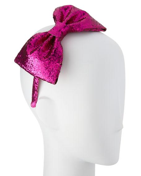 girls' glittered large bow headband, sweetheart pink