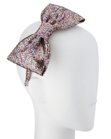 girls' glittered large bow headband, multicolor