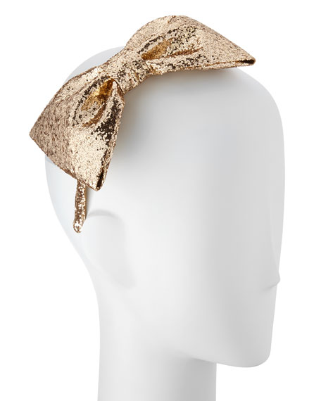 girls' glittered large bow headband, gold