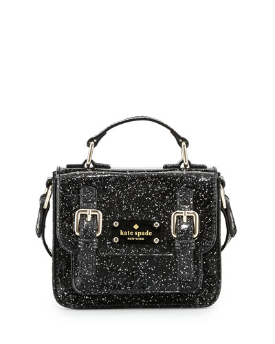 scout girls' metallic patent leather crossbody bag, black
