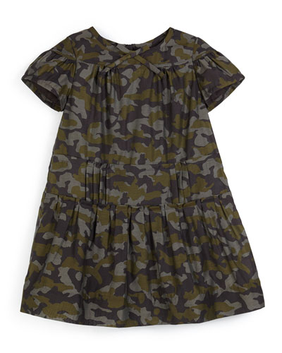 Jacquie Shirred Camo-Print Dress, Sage, Size 4-14