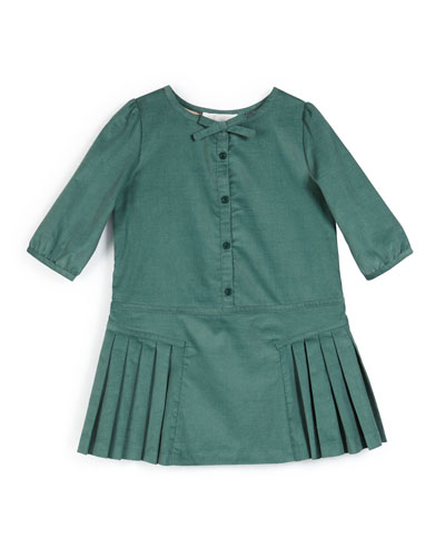Celie Pleated Corduroy Dress, Teal, Size 4-14