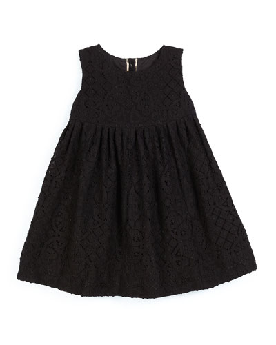 Baleena Sleeveless Smocked Lace Dress, Black, Size 4-14