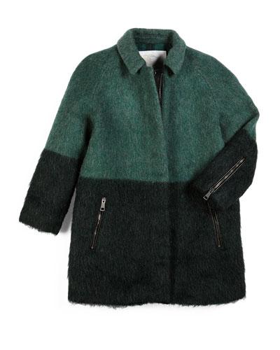 Colene Felt Colorblock Coat, Green, Size 4-14