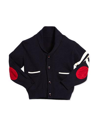 Cotton Varsity Cardigan, Navy, Size 2T-7Y
