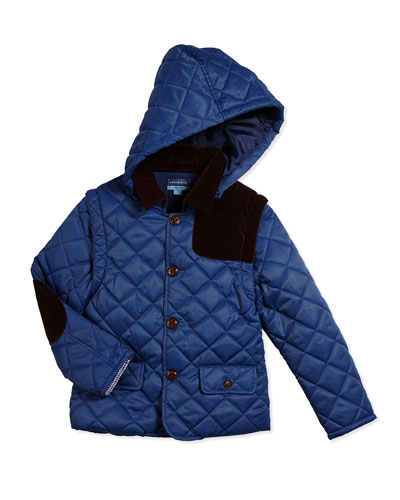Quilted Convertible Contrast-Trim Jacket, Blue, Size 2T-7Y