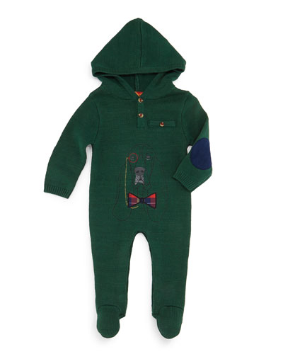 Hooded Henley Footie Pajamas, Green, Size 3-18 Months